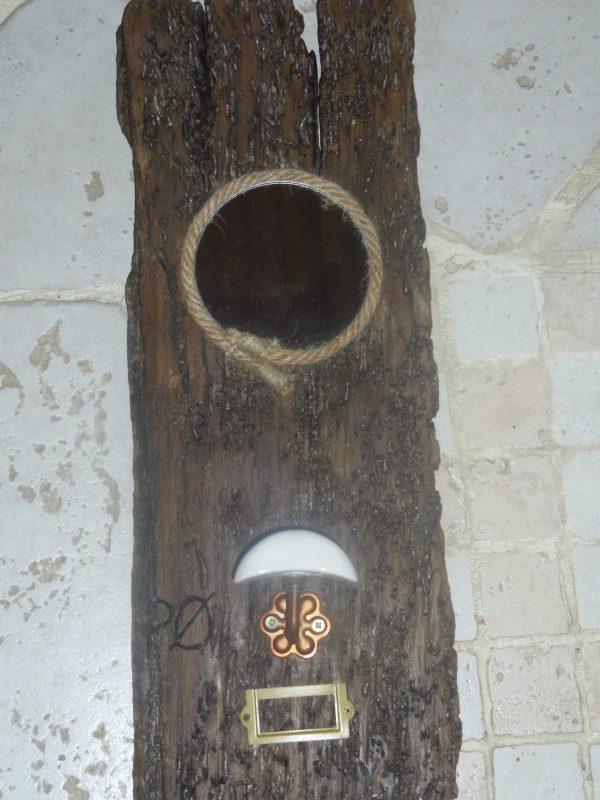 Miroir en bois flotté avec porte manteau